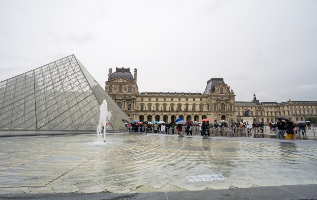 Fountain and pyramid at the Louvre
