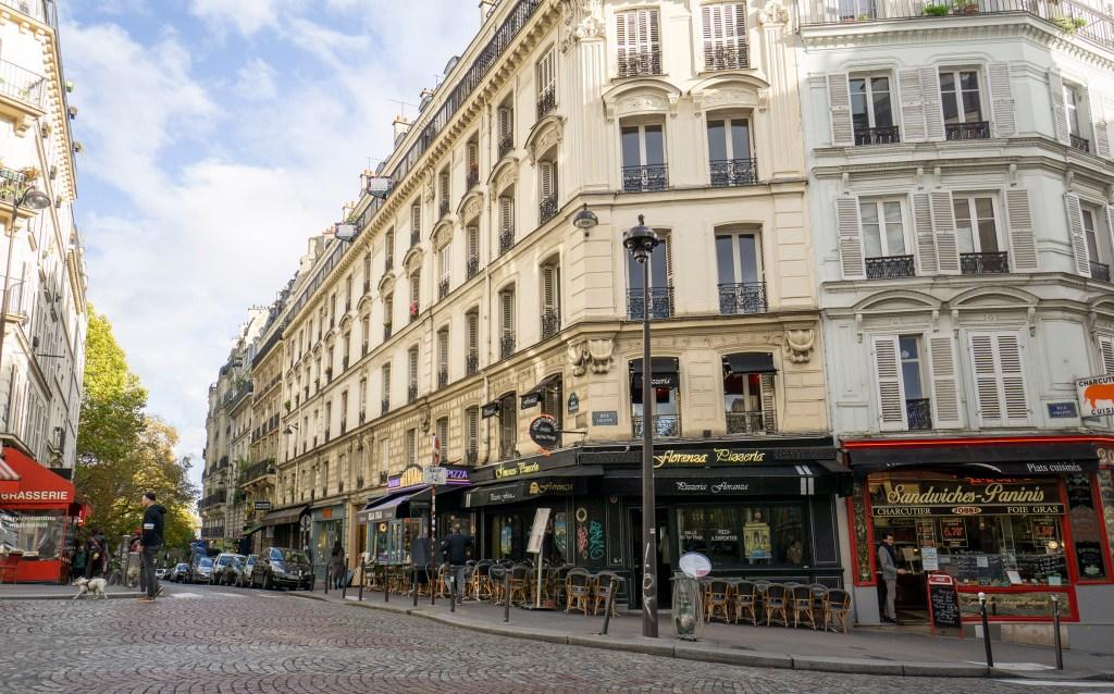 Shops and restaurants in Paris' Montmartre area.