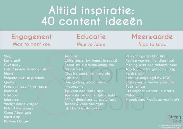 Wat online posten - 40 content ideeen -Strong & Bold Hasselt