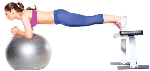 Image result for 1 SWISS BALL PLANK WITH FEET ON BENCH