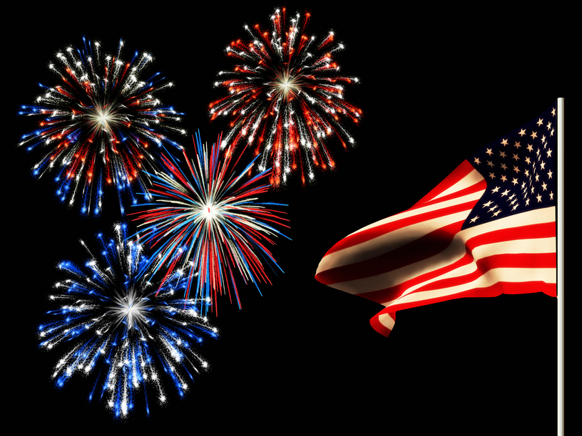 Fireworks and american flag Royalty Free Vector Image