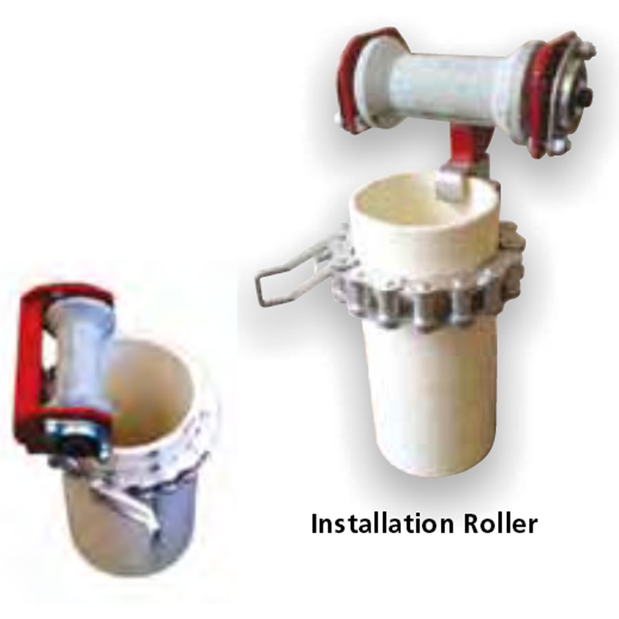 Installation roller used for easy installation of bore pumps