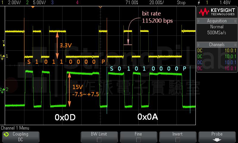黃色是正邏輯的UART,綠色是負邏輯的RS232