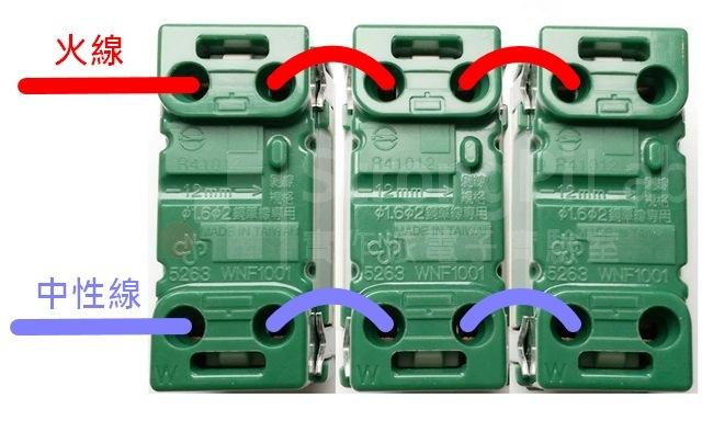 三個單孔插座並排實例