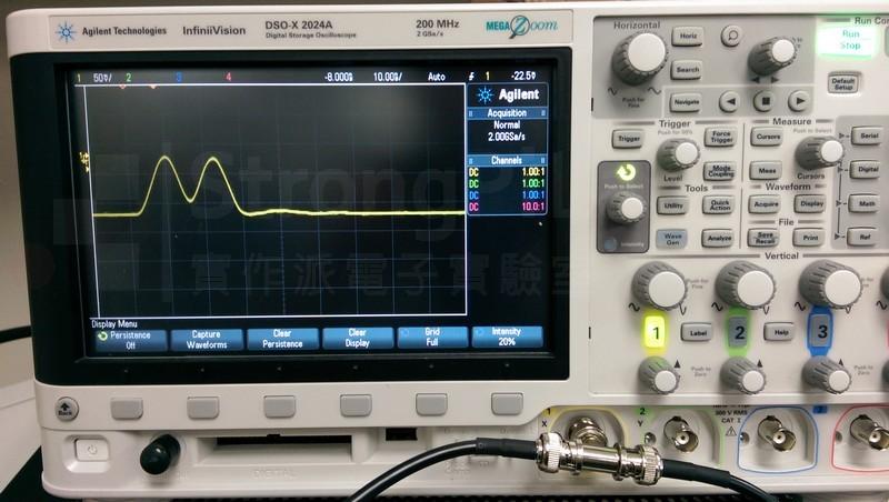 在端點開路Open的情況之下,左邊的Pulse是入射波,右邊正的是反射波