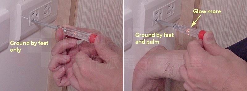 右圖顯示當接觸面積增加時,氖燈較亮