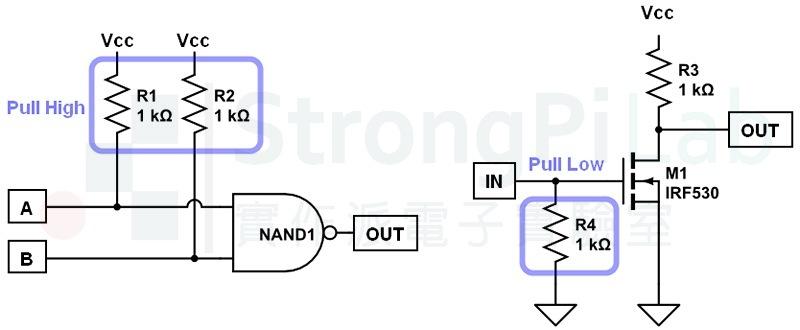 避免 浮接 輸入端務必要 pull high 或 pull low