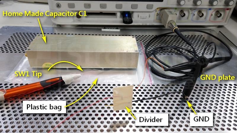 靜電 放電實驗的實體接線圖