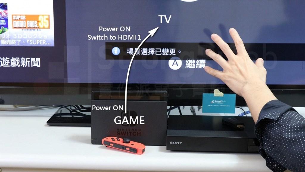 啟動遊戲機讓電視切換到對應的HDMI輸入