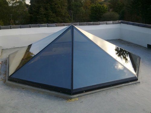 pyramidal bespoke glass frameless rooflight