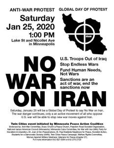 Minneapolis Jan. 25: No War On Iran!