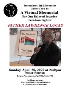 April 26: Virtual memorial for Father Lawrence Lucas