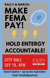 March for Real Hurricane Relief! Sept. 19, New Orleans City Hall