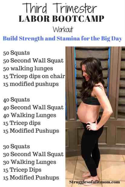 Third trimester prenatal workout