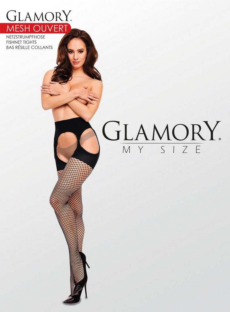 Straps Netzstrumpfhose in Übergröße offener schritt von glamory