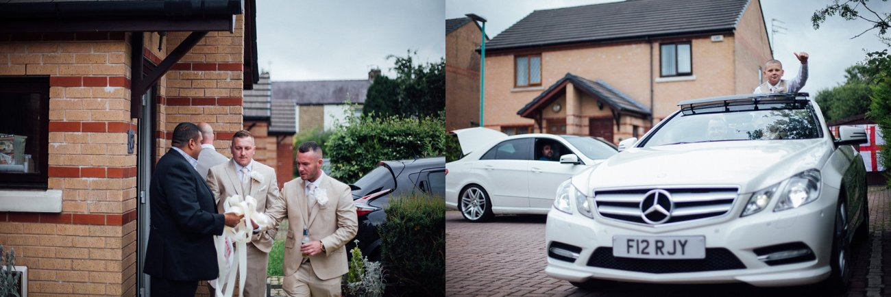 groomsmen in cars