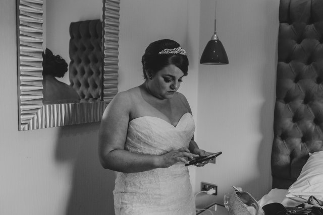 bride on mobile phone