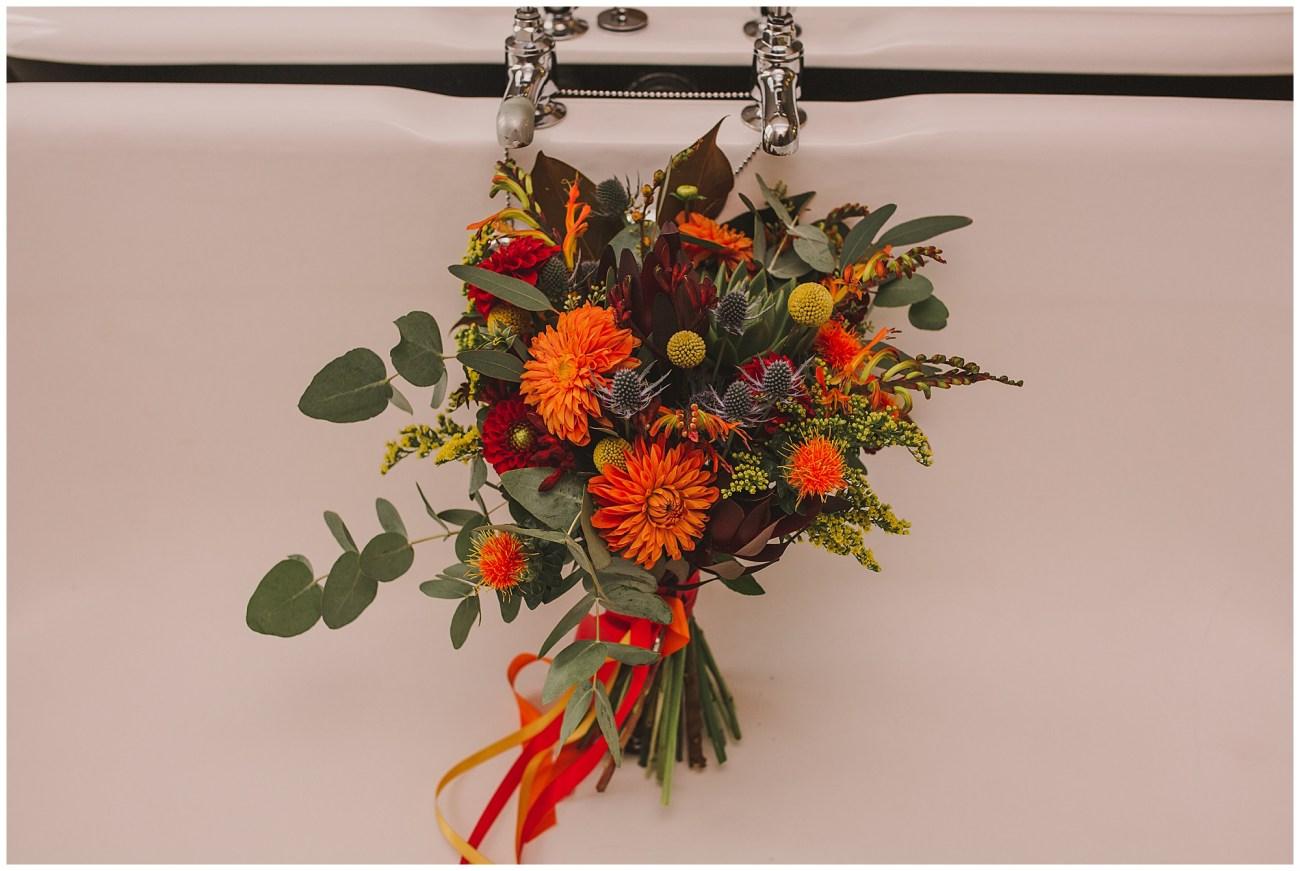 bridal bouquet in bath