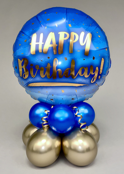 Blue And Gold Happy Birthday Balloon Centrepiece Comes Inflated Assembled Ebay
