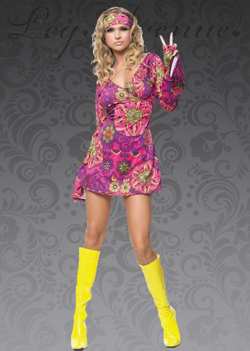 Leg Avenue 60s Pink Hippy Girl Costume Leg Avenue 60s Pink