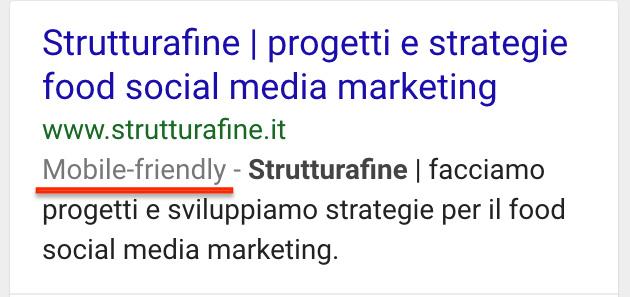 StrutturaFine - come appare un sito Mobile Friendly nelle ricerche Google