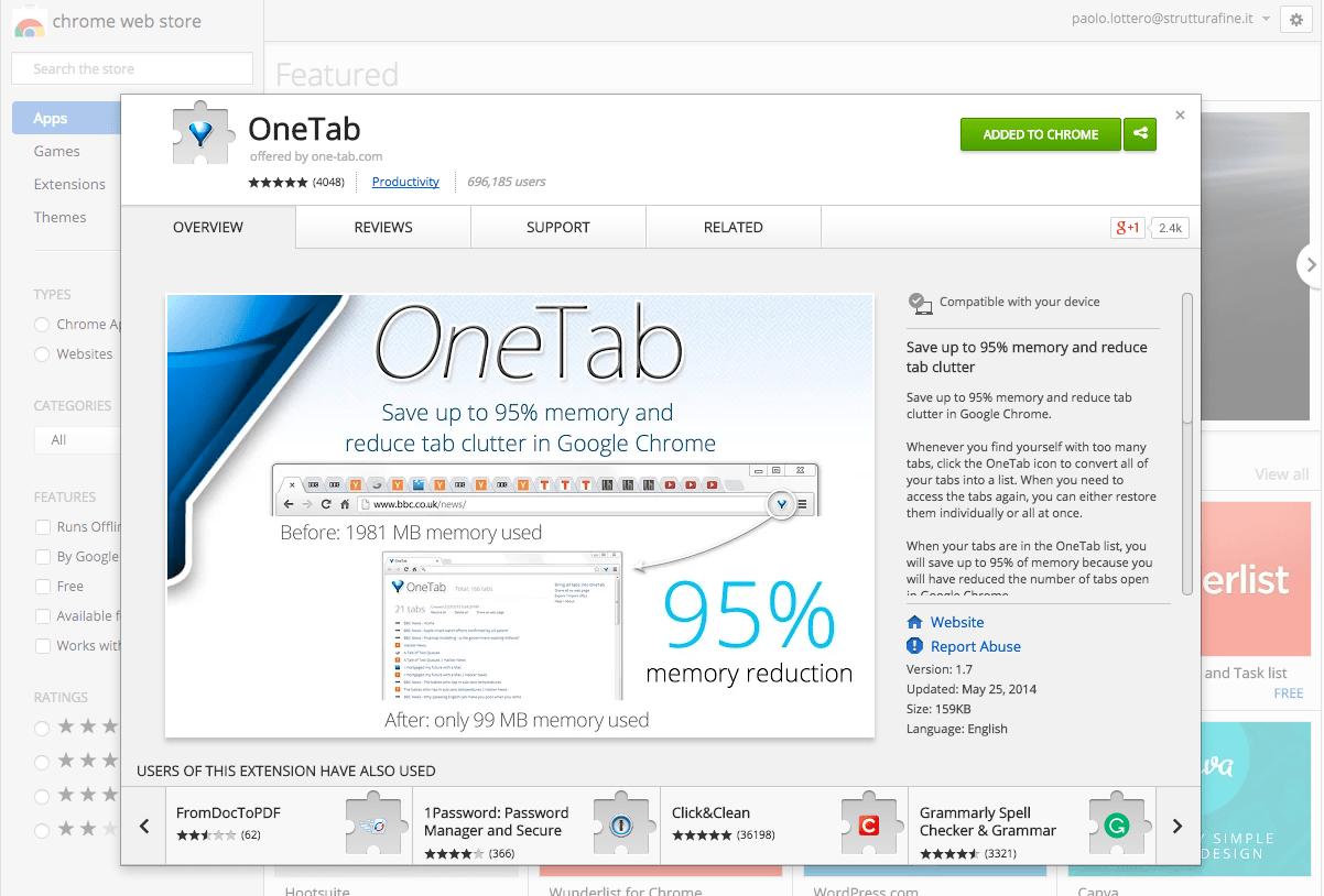 OneTab Estensione per Chrome | StrutturaFine