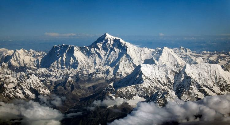 Aerial photo of Mount Everest