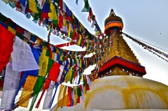 "Honorable Mention, Sense of Place: Caitlin Woodard, Kathmandu, Nepal. ""The Boudhanath Stupa: The Boudhanath Stupa is a sacred destination for Buddhists and tourists alike. Meditations are offered by walking clockwise around the base of this stupa. Monks at the neighboring monasteries burn cedar incense, which contributes to the calming atmosphere."""