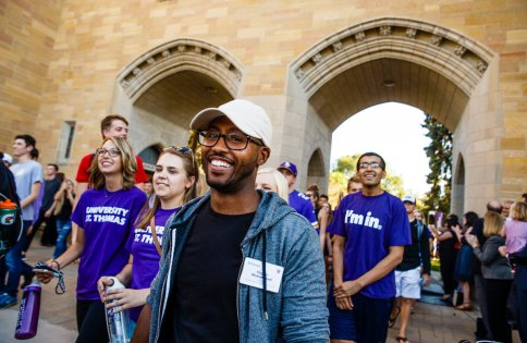 Undergraduate Student Government president Mayzer Muhammad lead the procession.