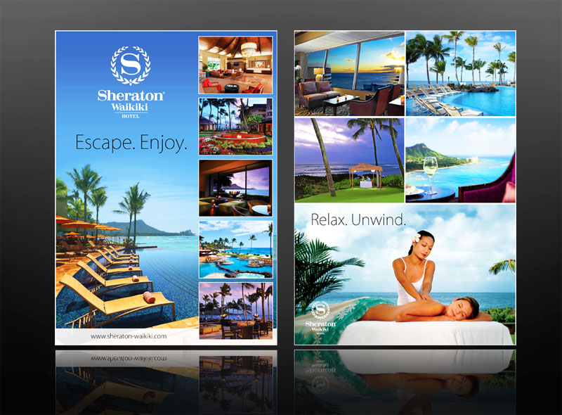 Sheraton Hotel: Leaflet design for this luxury resort - health & beauty spa. The project also included other marketing & design work such as brochures, business cards & posters