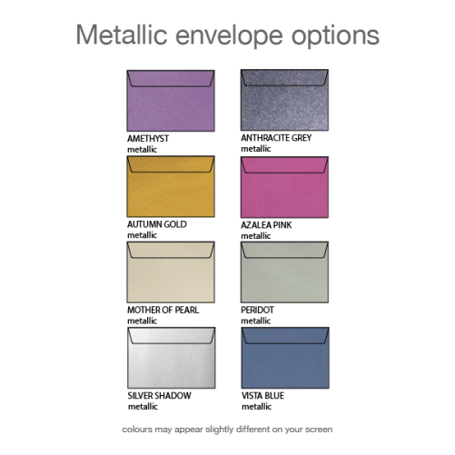 metallic envelope options