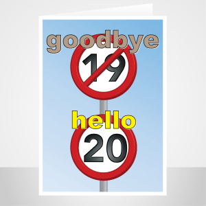 funny 20th birthday card speed sign bh198 display 1