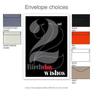 22nd birthday wishes for her or him black typography bth107a envelope choices