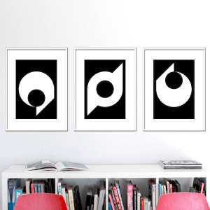black ball set of 3 stuartconcepts p0012 white frames