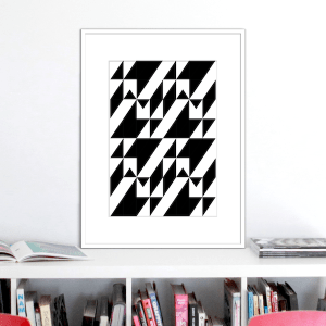 black and white stairs illusion print stuartconcepts p0028 white frame_NO 1
