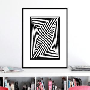 zed optical illusion print stuartconcepts p0026 black frame