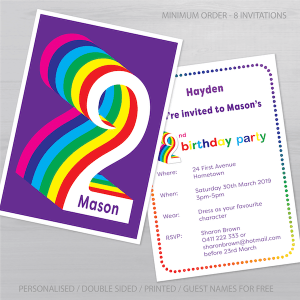 2nd birthday invitation boy girl rainbow inv002 display