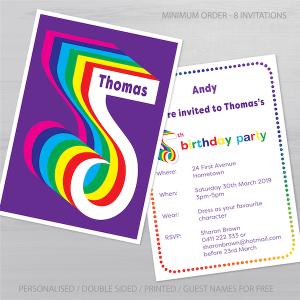 5th birthday invitation inv005 display