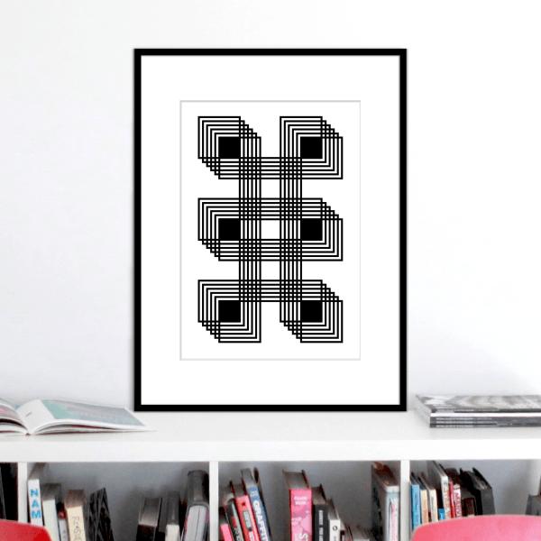 six black squares optical illusion stuartconcepts print p0025 black frame