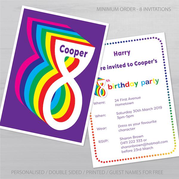 8th birthday invitation inv008 display