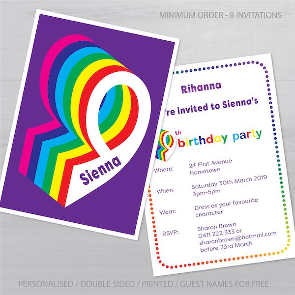 9th birthday invitation inv009 display