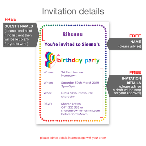 9th birthday invitation inv009 invite details