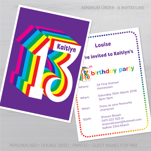 13th birthday invitation inv013 display new