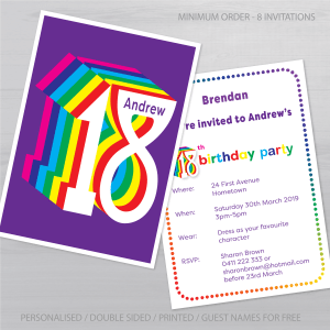 18th birthday invitation inv018 display new