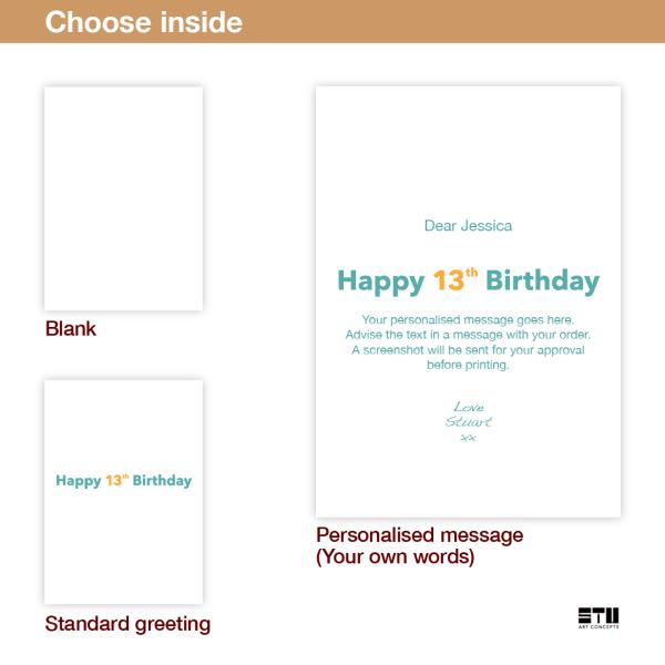 13th birthday card finally a teen bth465 inside