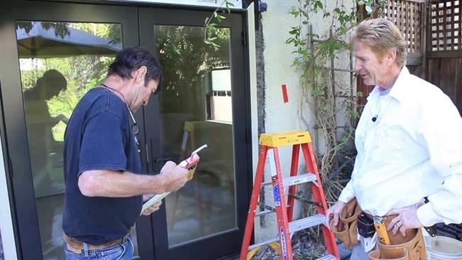 Installing a new Marvin sliding glass door. Larry Beilman & Kirk Giordano