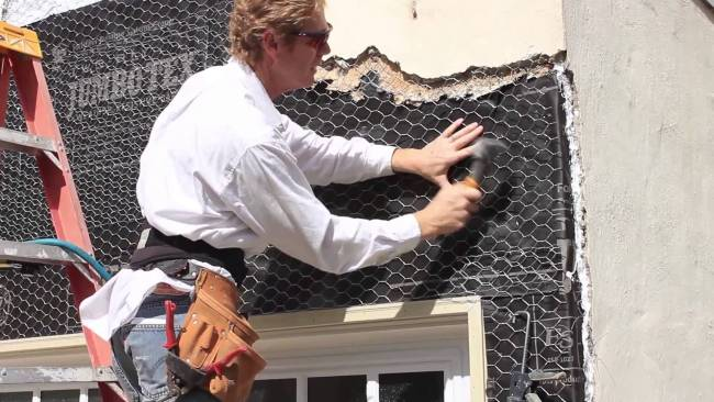 Tie in new stucco paper to old stucco paper