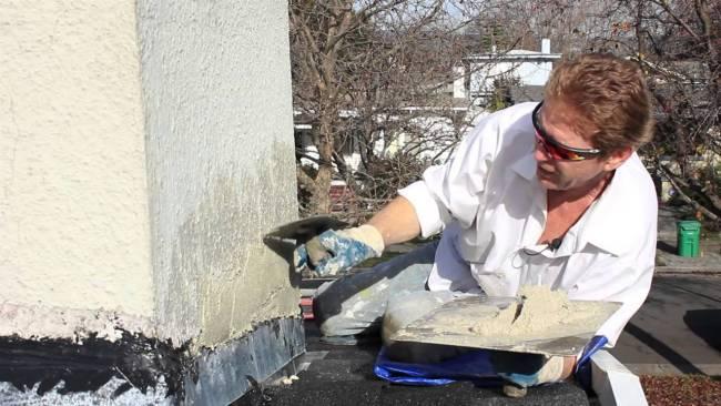Repair chimney stucco over new flashing