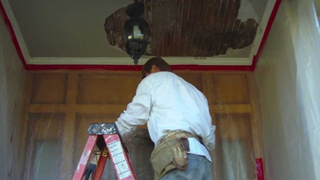 Remove and repair an exterior porch ceiling for the DIY person