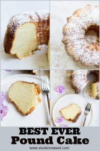 A simple recipe for Pound Cake that is lightened using cake flour and kept moist using sour cream or cream cheese. It's a delicious cake recipe that you will love! #stuckonsweet #cakerecipe #poundcake
